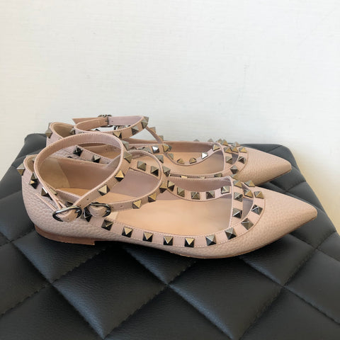 Valentino Poudre/Nude Grained Leather Rockstud Cage Flats Size 37.5