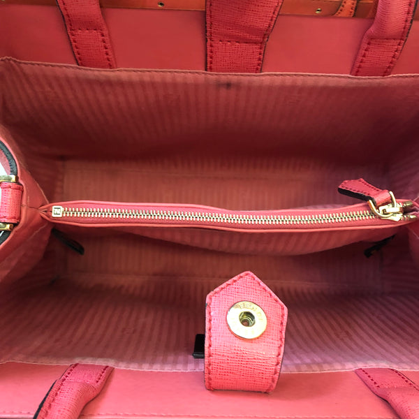 Fendi Coral Petite 2Jours Elite Leather Shopper Crossbody Bag