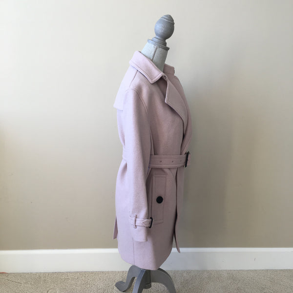 Burberry Pale Orchid Kellner Wool Wrap Trench Coat Size US 2