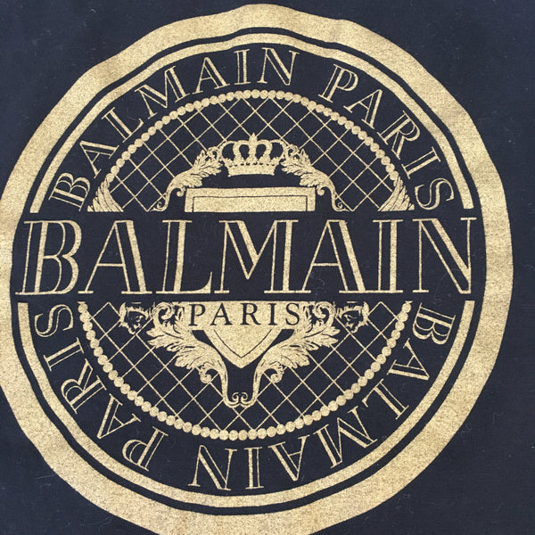 Balmain Paris Unisex Cotton Logo Black T-Shirt Size XS Men (Fits S-M for Women)