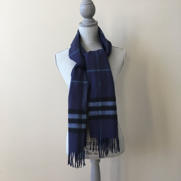 Burberry Navy Check Cashmere Scarf