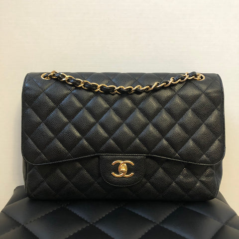 Chanel Jumbo Black Caviar Double Flap Bag Gold Hardware