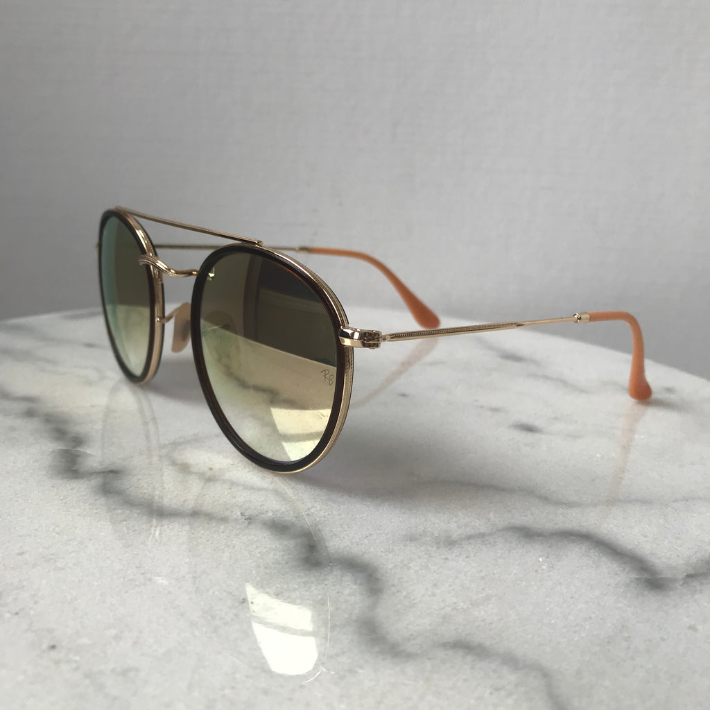 3e44a9ce32 Ray-Ban Round Double Bridge Gold Graduated brown pink mirror Sunglasse