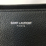 SAINT LAURENT Black Grained Leather Rive Gauche Cabas Small Tote Crossbody Bag