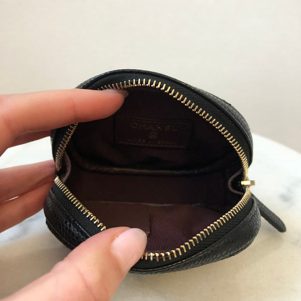 Chanel Black Caviar GHW Round Coin Purse