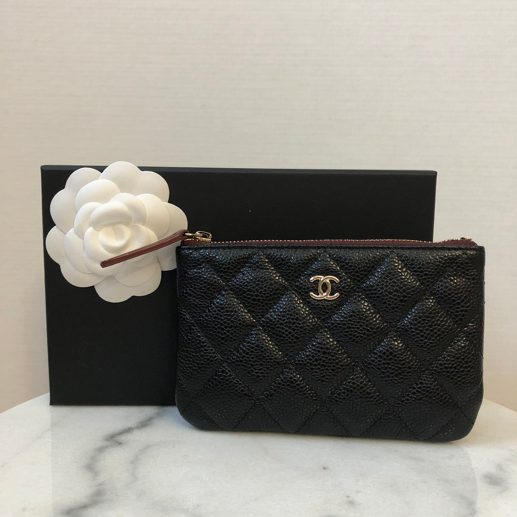 a8ed4464b8ab Chanel Black Caviar GHW Mini O Case Pouch