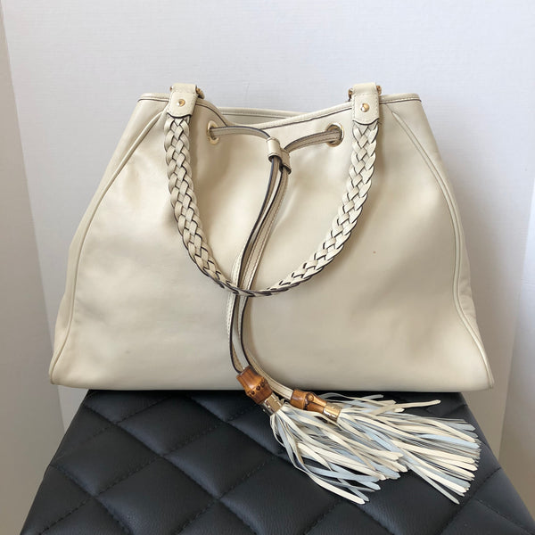 Gucci Ivory Peggy Tassle Shoulder Bag