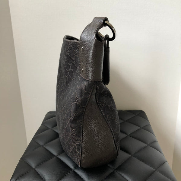 Gucci Large Dark Brown Canvas/Leather Shoulder Bag