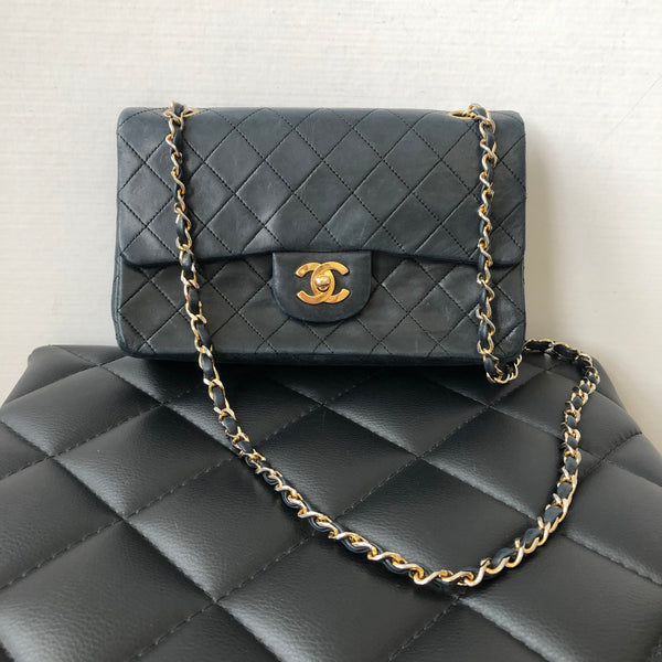 Chanel Vintage Black Lambskin Quilted GHW Small Classic Double Flap Bag