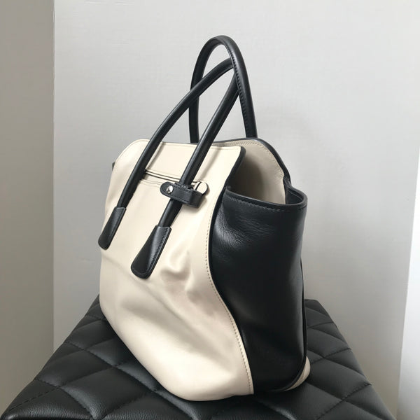 Prada Ivory/Black Soft Calfskin Leather Shopping Crossbody/Shoulder Bag