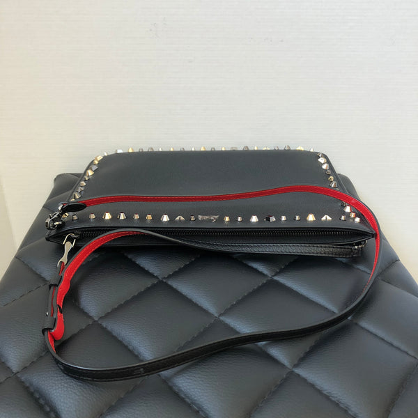 Christian Louboutin Black Grained Loubiposh Clutch/Crossbody Bag
