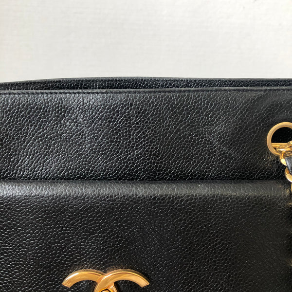 Chanel Vintage Black Caviar Shoulder Bag
