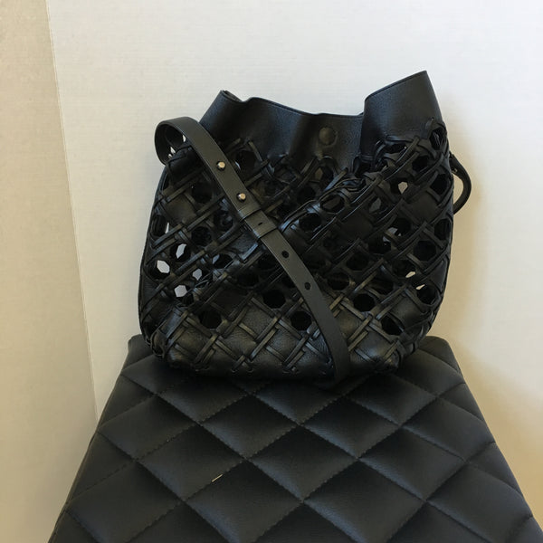 3.1 Phillip Lim Black Quill Cutout Leather Bucket Bag with detachable Pouch
