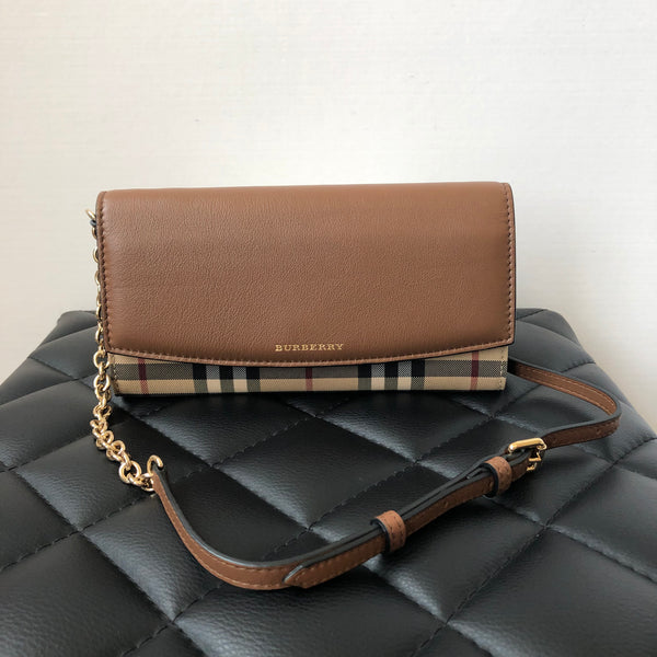 Burberry Tan Brown Horseferry Check Henley Wallet on Chain