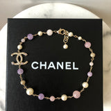 Chanel Pearl Beaded Crystal Star CC Necklace Purple/Pink & Pale Gold