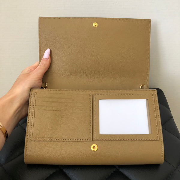 Saint Laurent Beige Wallet on Chain/Clutch