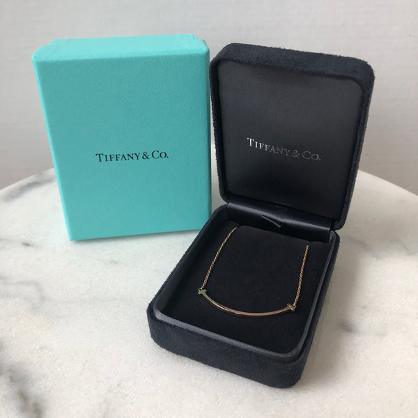 Tiffany 18K Rose Gold T Smile Mini Pendant Necklace