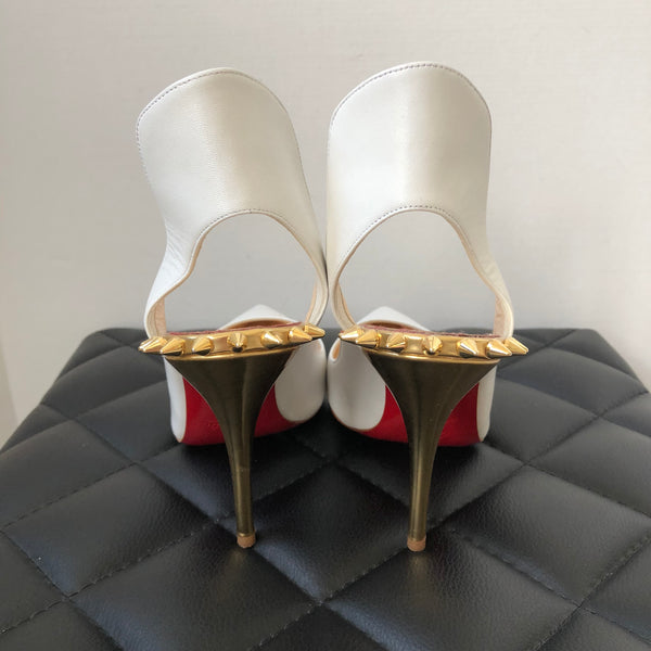 Christian Louboutin White/Gold Survivita Spike Pumps Size 38