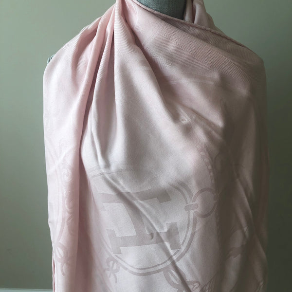 "Hermes rose pétale (Light Pink) ""New Libris"" Stole/Scarf Cashmere and Silk"