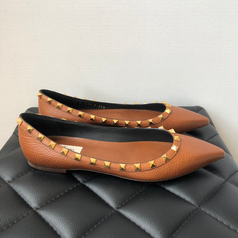 Valentino Brown Grained Leather Rockstud Flats Size 39.5