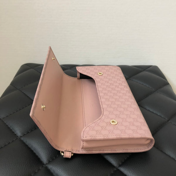 Gucci Guccissima Lilac Travel Wristlet Wallet