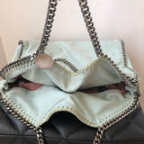 Stella McCartney Medium Falabella Fold Over Bag Shaggy Deer Tote Light Blue