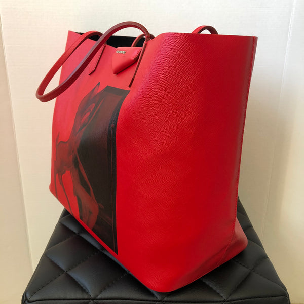 GIVENCHY Red Textured Coated Canvas Large Bambi Print Antigona Tote with Pouch