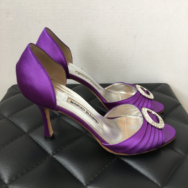 Manolo Blahnik Purple Satin Crystal Pumps Size 37.5