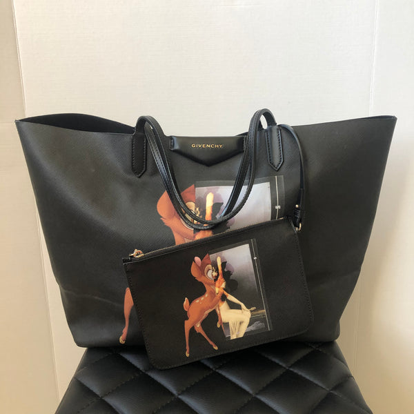 GIVENCHY Black Textured Coated Canvas Large Bambi Print Antigona Tote with Pouch