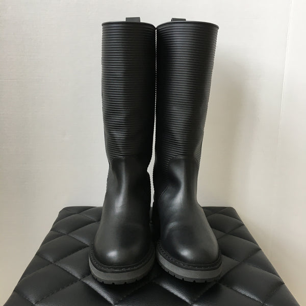 Fendi Black Leather Logo Boots Size 36.5