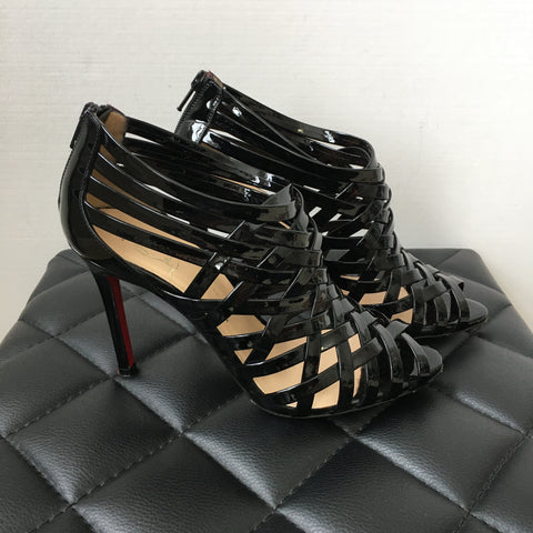 Christian Louboutin Black Patent Cage Sandals Size 37