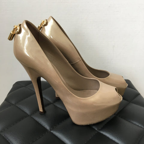 Louis Vuitton Shimmery Beige Oh Really Lock Peep Toe Platform Pumps Size 37
