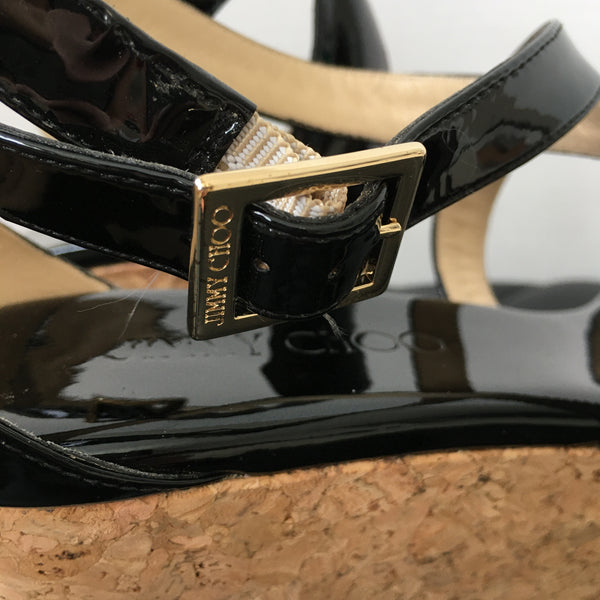 Jimmy Choo Portia 70 Black Patent Wedges Size 38.5