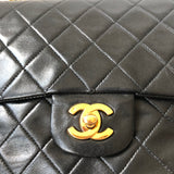 Chanel Vintage Black Lambskin Medium GHW Double Flap Bag