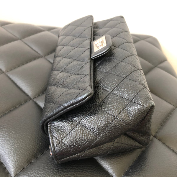 CHANEL Uniform Black Grained Calfskin Quilted 2.55 Reissue Belt Bag/Chain Crossbody Bag