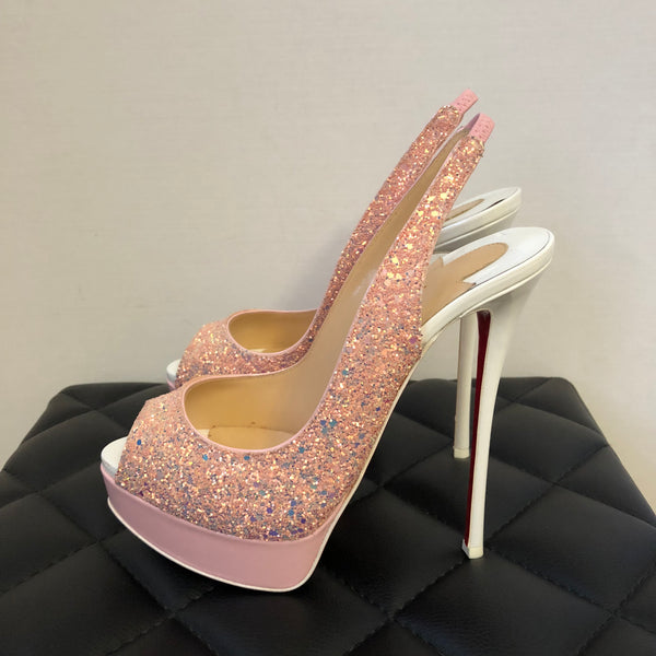 Christian Louboutin Pink and White Fetish Slingbacks Patent/Glitter Size 38.5