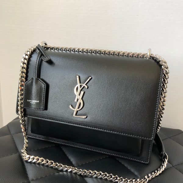 Saint Laurent Black Medium Sunset Crossbody/Shoulder Bag