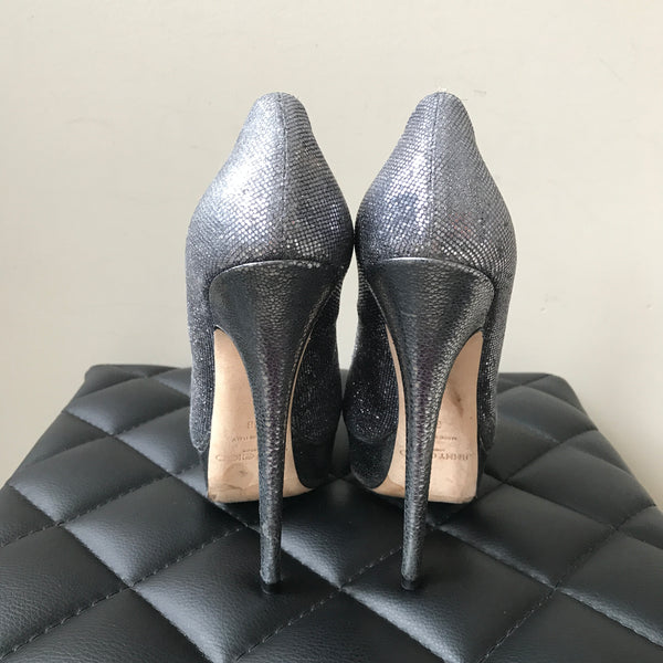 Jimmy Choo Eros Anthracite Glitter Pumps Size 38