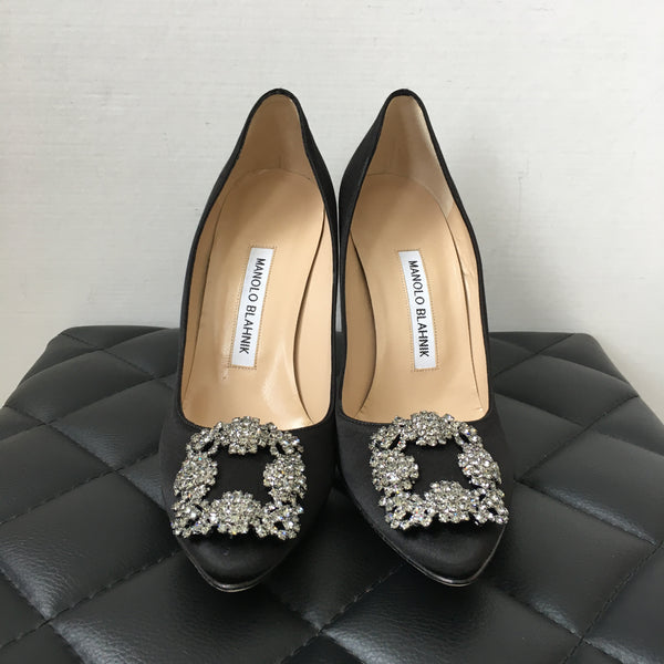 Manolo Blahnik Black Satin Hangisi 105 Pumps Size 37