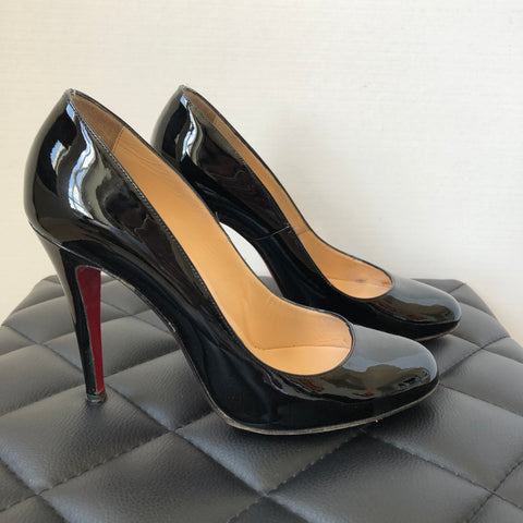 Christian Louboutin Black Patent Ron Ron 100 Pumps Size 37