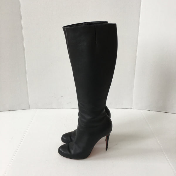 Christian Louboutin Black Leather Botta Knee-High Boots Size 40