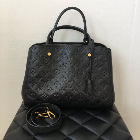Louis Vuitton Black Montaigne MM Monogram Empreinte Leather