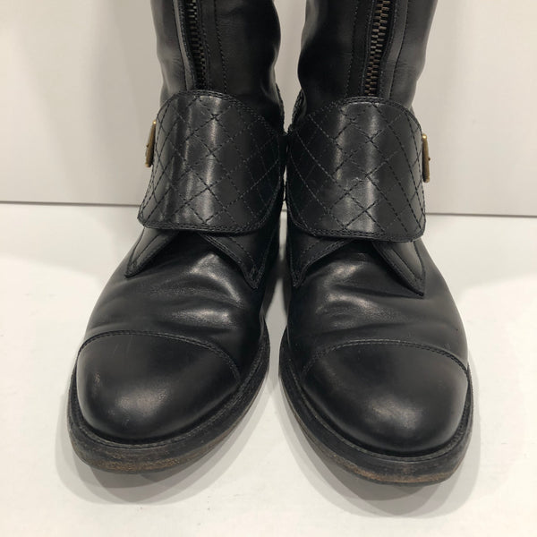 Chanel Black CC Leather Riding Boots Size 39.5