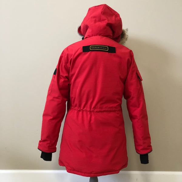 Canada Goose Ladies Red Expedition Down Parka With Fur Size Small