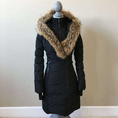 Mackage Black Kay Down Fur Trim Coat Size XXS