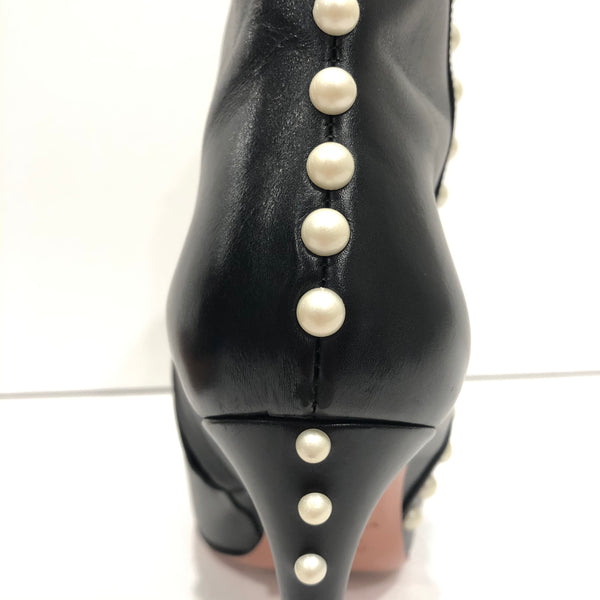 AQUAZZURA Follie Pearls Leather Ankle Boots in Black Size 38