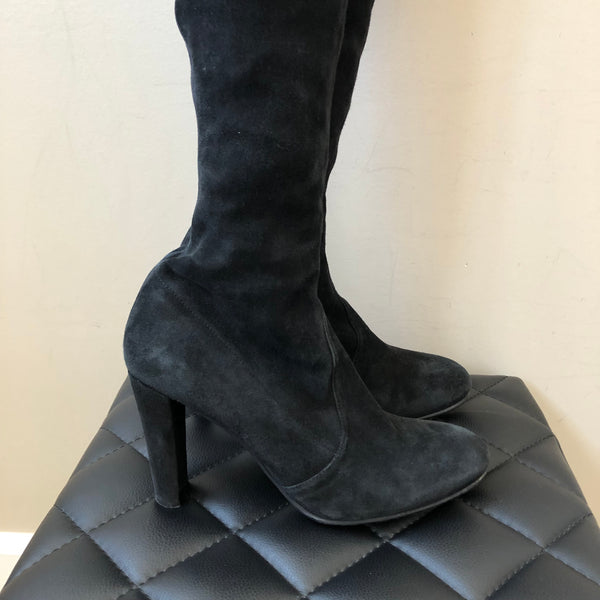 Stuart Weitzman Black Suede HIGHLAND Over the Knee Boots Size 9