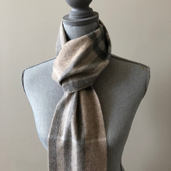 Burberry Grey/Beige Long Check Cashmere Scarf