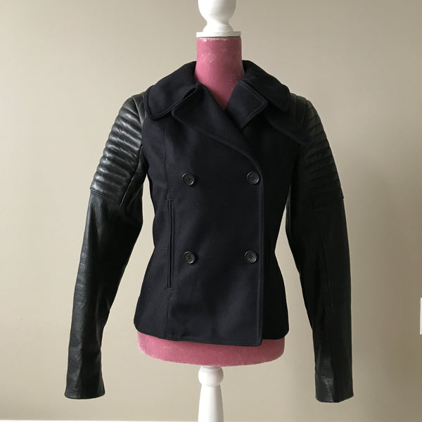 A.L.C. Wool/Leather Navy and Black Pescod Jacket Size 6
