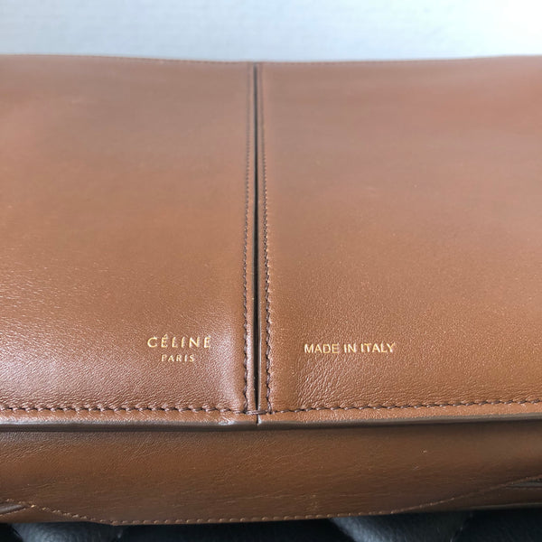 Céline Brown Calfskin Tri-Fold Clutch on Chain